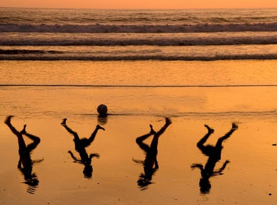 Four children on beach